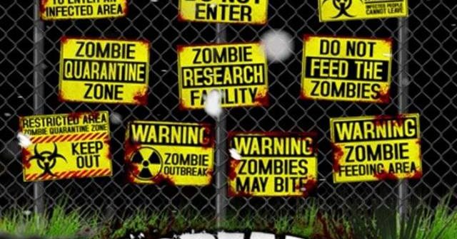 picture regarding Quarantine Sign Printable named 10 Printable Yellow Zombie Signs or symptoms Conserve 70% upon a a